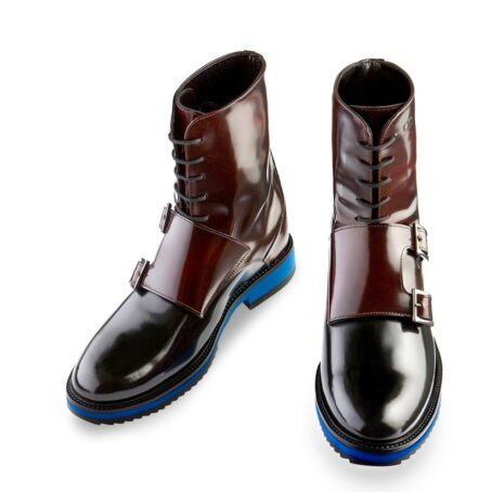 shiny bordeaux and black boots with double buckles 2