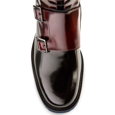 shiny bordeaux and black boots with double