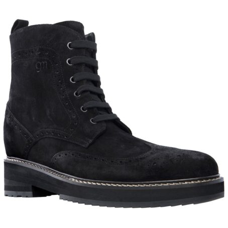 deep black ankle boots made in suede leather with wingtip brogue decorations 1