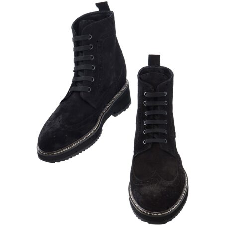 deep black ankle boots made in suede leather with wingtip brogue decorations 2