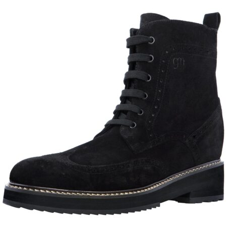 deep black ankle boots made in suede leather with wingtip brogue decorations 3