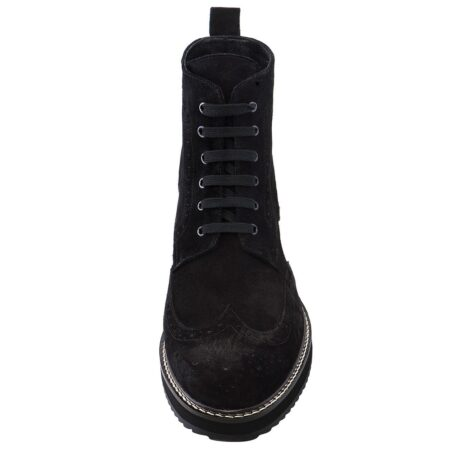 deep black ankle boots made in suede leather with wingtip brogue decorations 4