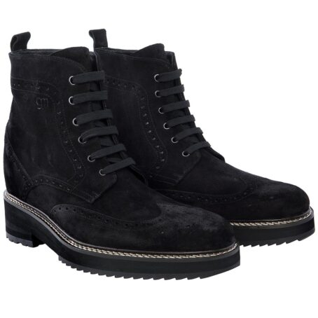 deep black ankle boots made in suede leather with wingtip brogue decorations 5