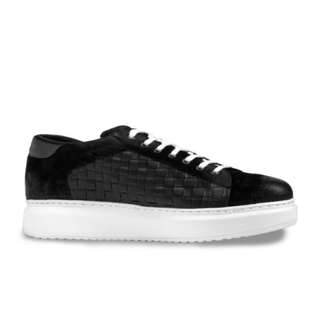 black waxed suede sneakers with textured leather on side 1