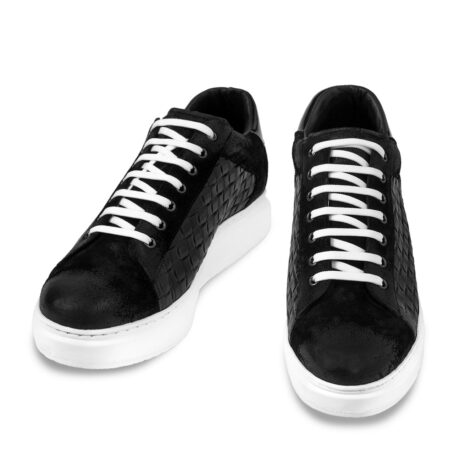 black waxed suede sneakers with textured leather on side 2