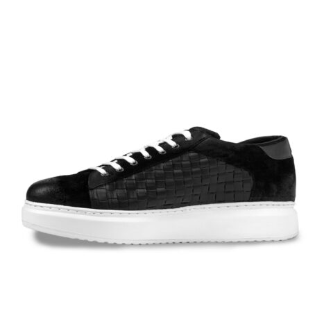 black waxed suede sneakers with textured leather on side 3