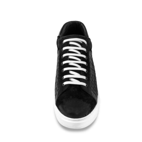 black waxed suede sneakers with textured leather on side 4
