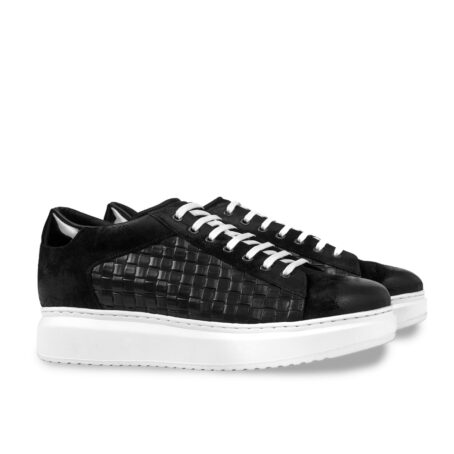 black waxed suede sneakers with textured leather on side 5