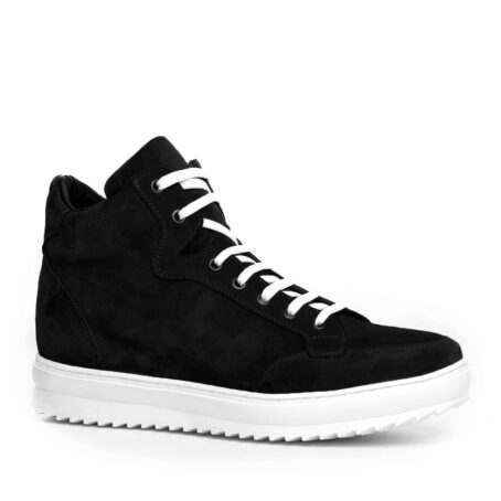black suede  pump sneakers with white laces 1