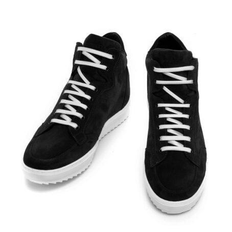 black suede  pump sneakers with white laces 2