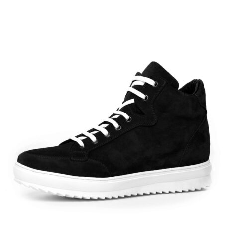 black suede  pump sneakers with white laces 3