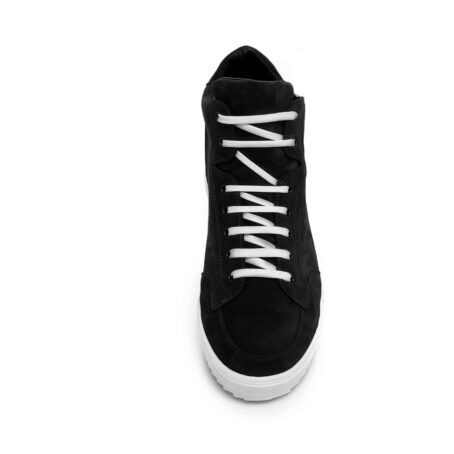 black suede  pump sneakers with white laces 4