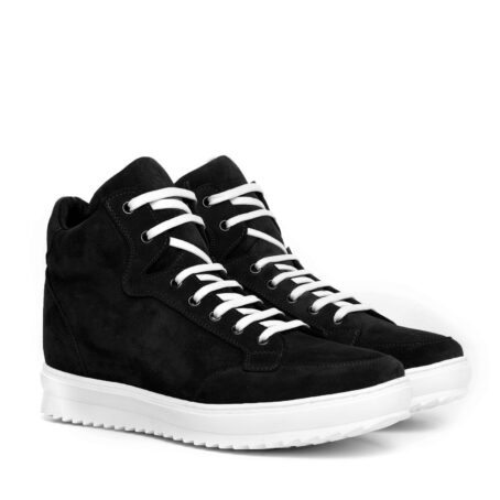 black suede  pump sneakers with white laces 5