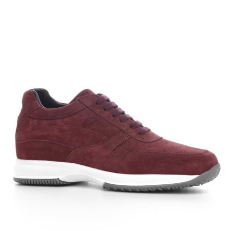 burgundy suede sneakers with bordeaux cotton laces 1