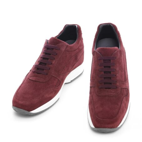 burgundy suede sneakers with bordeaux cotton laces 2