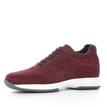 burgundy suede sneakers with bordeaux cotton laces 3