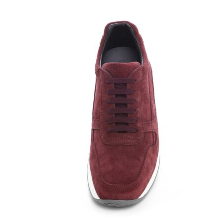 burgundy suede sneakers with bordeaux cotton laces 4