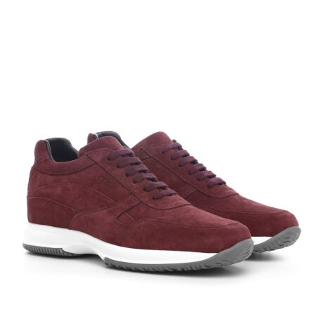 burgundy suede sneakers with bordeaux cotton laces