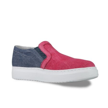 red cotton slip-ons with denim toe 1