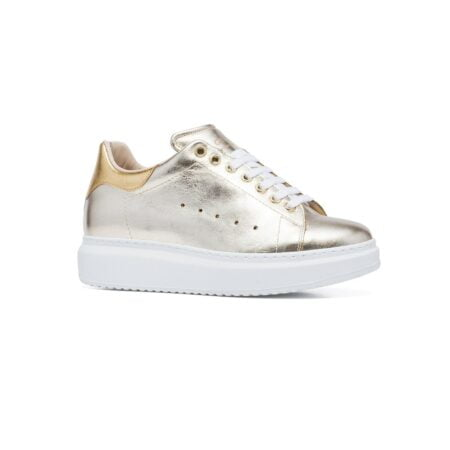 gold and platino sneakers 1