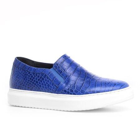 blue leather slip-ons with crocodile texture 1
