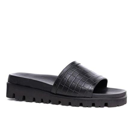 total black elevator sandals 1