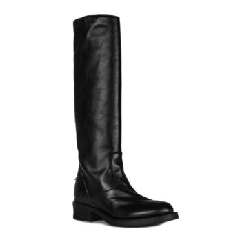 black boots for woman with details in python leather 1