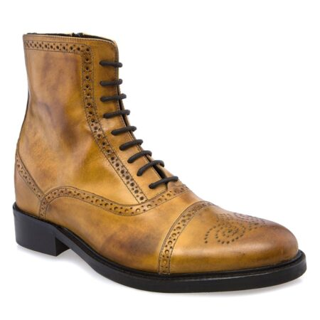 brogue boots yellow burnished leather 1