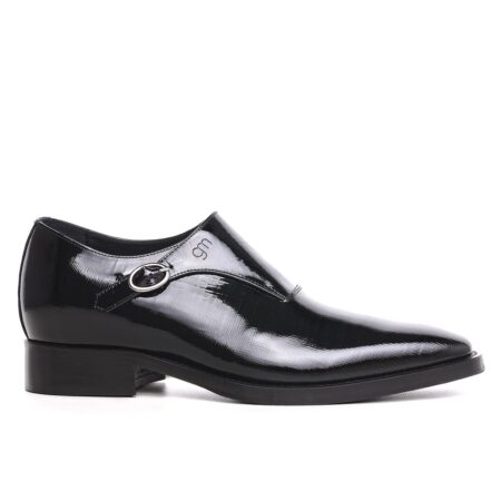 shiny single monk strap dress shoes 1