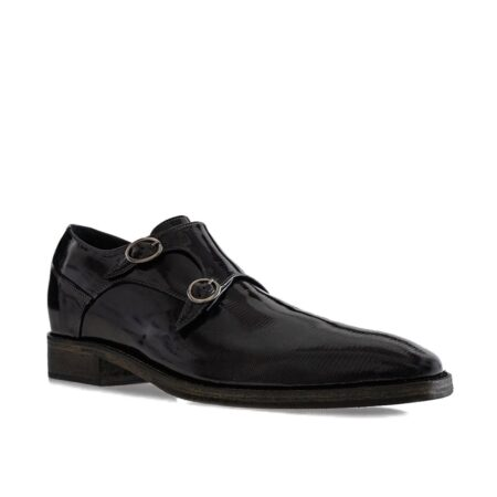 black double monk strap with shiny effect 1