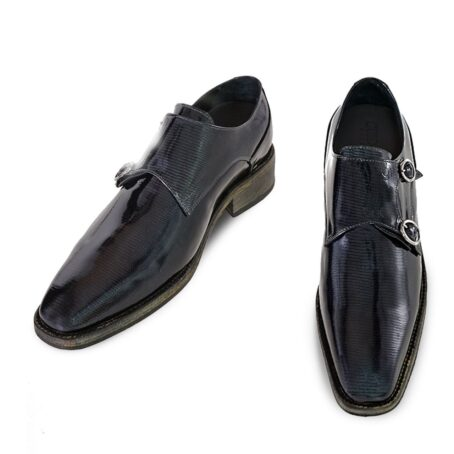 black double monk strap with shiny effect 2