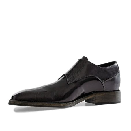 black double monk strap with shiny effect 3