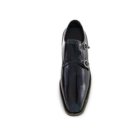 black double monk strap with shiny effect 4