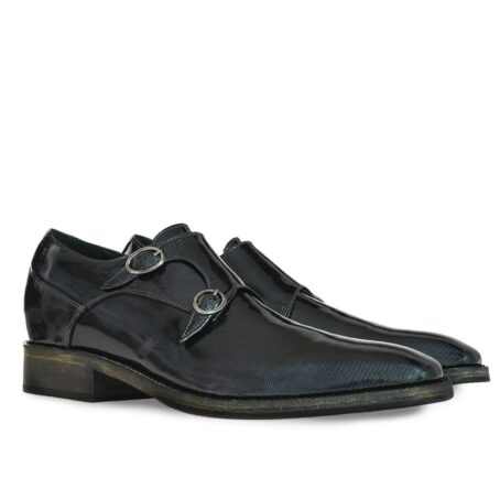 black double monk strap with shiny effect 5