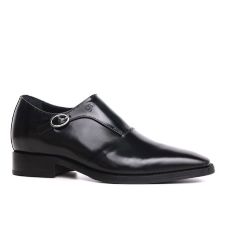 black dress shoes single monk strap for man 1
