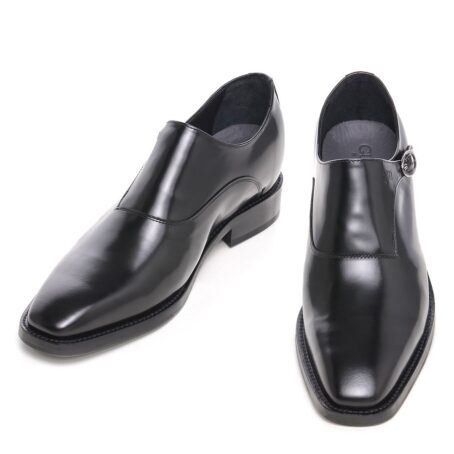 black dress shoes single monk strap for man 2