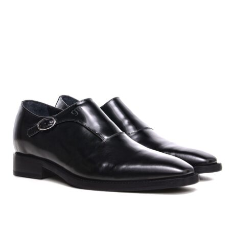 black dress shoes single monk strap for man 5