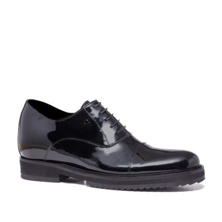 Black patent dress shoes for man
