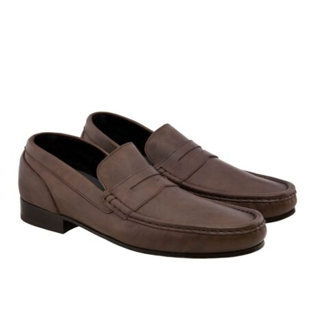 Leather mocassin with raised heel for men Guidomaggi