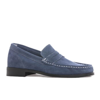 blue suede mocassini with white visible stitching 1