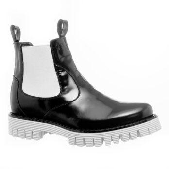 shiny black chelsea boots with white elastics and outsole 1