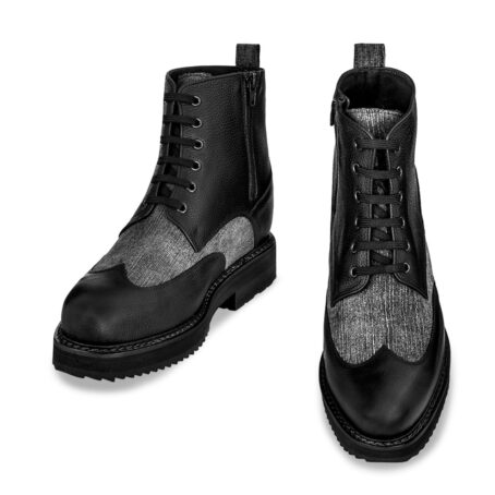 black leather boots with details in grey cotton fabric 2