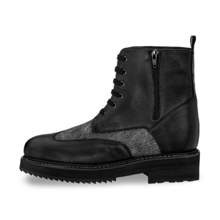 black leather boots with details in grey cotton fabric 3