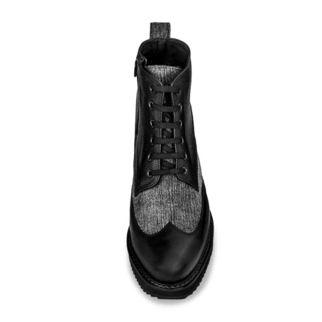 black leather boots with details in grey cotton fabric 4