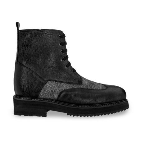 black leather boots with details in grey cotton fabric