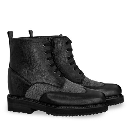 black leather boots with details in grey cotton fabric 5