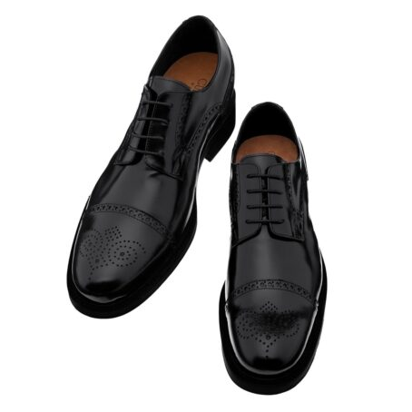 classic shiny black derby shoes with brogue decorations 2
