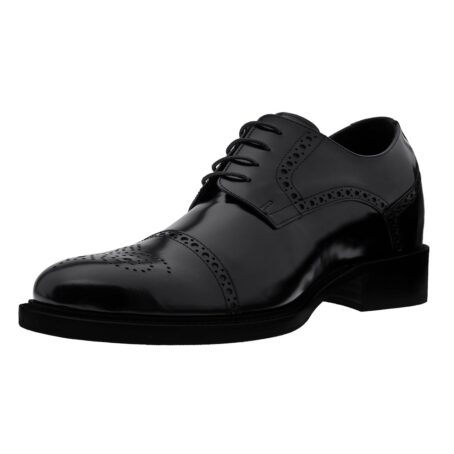 classic shiny black derby shoes with brogue decorations 3