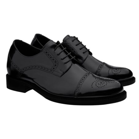 classic shiny black derby shoes with brogue decorations 4