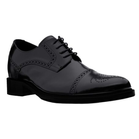classic shiny black derby shoes with brogue decorations 1